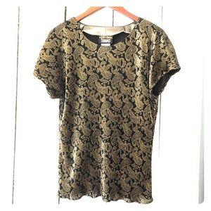 Black gold glimmery oriental print vintage shirt